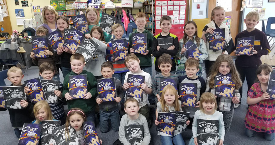 Amy Vetrone gives copies of Sammy's Big Dream to St. John Lutheran School in Berlin, Wisconsin