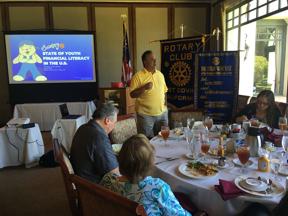 Sam X Renick presenting to West Covina Noon Rotary Club