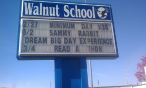 Walnut Elementary School marquess showing Sammy Rabbit